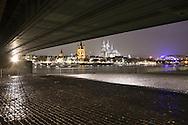 DEU, Germany, Cologne, the Deutzer bridge across the river Rhine, view to the church Gross St. Martin and to the cathedral.....DEU, Deutschland, Koeln, die Deutzer Bruecke ueber den Rhein, Blick zur Kirche Gross St. Martin und zum Dom...