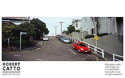 Typical houses and street scenes of Wellington, New Zealand. at Mt Victoria, Wellington, New Zealand.<br />