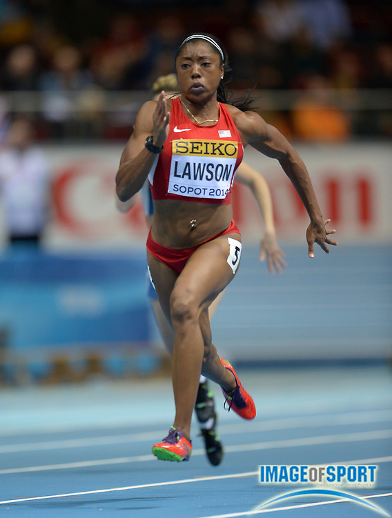 Mar 8, 2014; Sopot, Poland; LaKeisha Lawson (USA) runs 7.19 in a womens 60m heat to adavnce in the IAAF World Indoor Championships in Athletics at Ergo Arena.