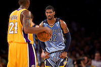 06 November 2009: Guard OJ Mayo of the Memphis Grizzles guards Kobe Bryant of the Los Angeles Lakers during the first half of the Lakers 114-98 victory over the Grizzles at the STAPLES Center in Los Angeles, CA.