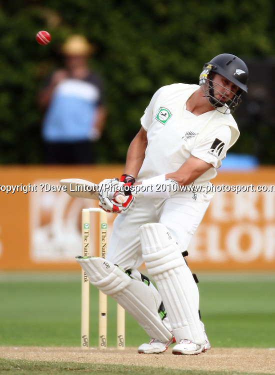 NZ batsman Peter Ingram dodges a bouncer.<br /> 1st cricket test match - New Zealand Black Caps v Australia, day two at the Basin Reserve, Wellington.Saturday, 20 March 2010. Photo: Dave Lintott/PHOTOSPORT