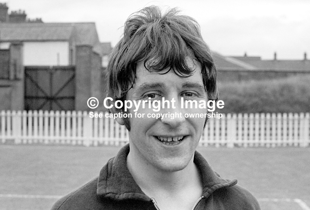 Terry Nicholson, footballer, Crusaders FC, Belfast, N Ireland, July 1967,  196707000015, <br /> <br /> Copyright Image from Victor Patterson, 54 Dorchester Park, Belfast, UK, BT9 6RJ<br /> <br /> t1: +44 28 9066 1296 (from Rep of Ireland 048 9066 1296)<br /> t2: +44 28 9002 2446 (from Rep of Ireland 048 9002 2446)<br /> m: +44 7802 353836<br /> <br /> e1: victorpatterson@me.com<br /> e2: victorpatterson@gmail.com<br /> <br /> The use of my copyright images is subject to my Terms & Conditions.<br /> <br /> It is IMPORTANT that you familiarise yourself with them. They are available on my website at www.victorpatterson.com.<br /> <br /> None of my copyright images may be used on a website unless they are visibly watermarked, i.e. © Victor Patterson within the body of the visible image. Metadata denoting my copyright must NOT be deleted. <br /> <br /> Web use is extra at currently recommended NUJ rates.