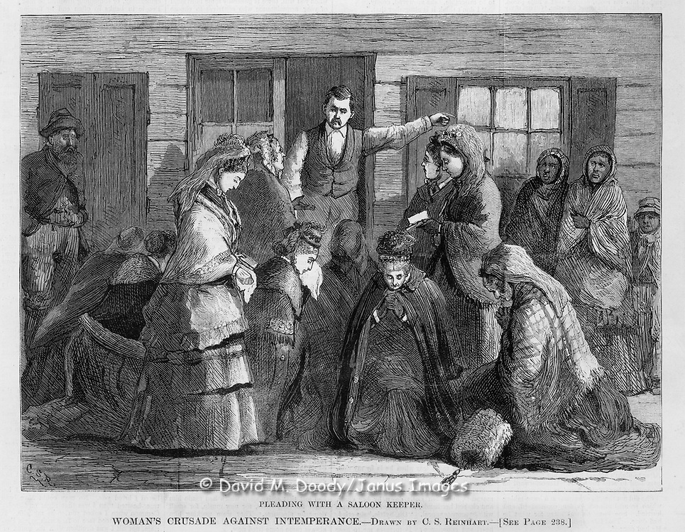 "Vintage Illustration:  ""Pleading with a Saloon Keeper"" Praying and Protesting drunkenness at saloons (led by Mrs. Col. Lowe).   Woman's crusade against intemperance later known as The  Woman's Christian Temperance Union (WCTU). The scene is illustrated by Mrs. C. S. Reinhart of the events in Xenia, Ohio. Harper's Weekly 1874"
