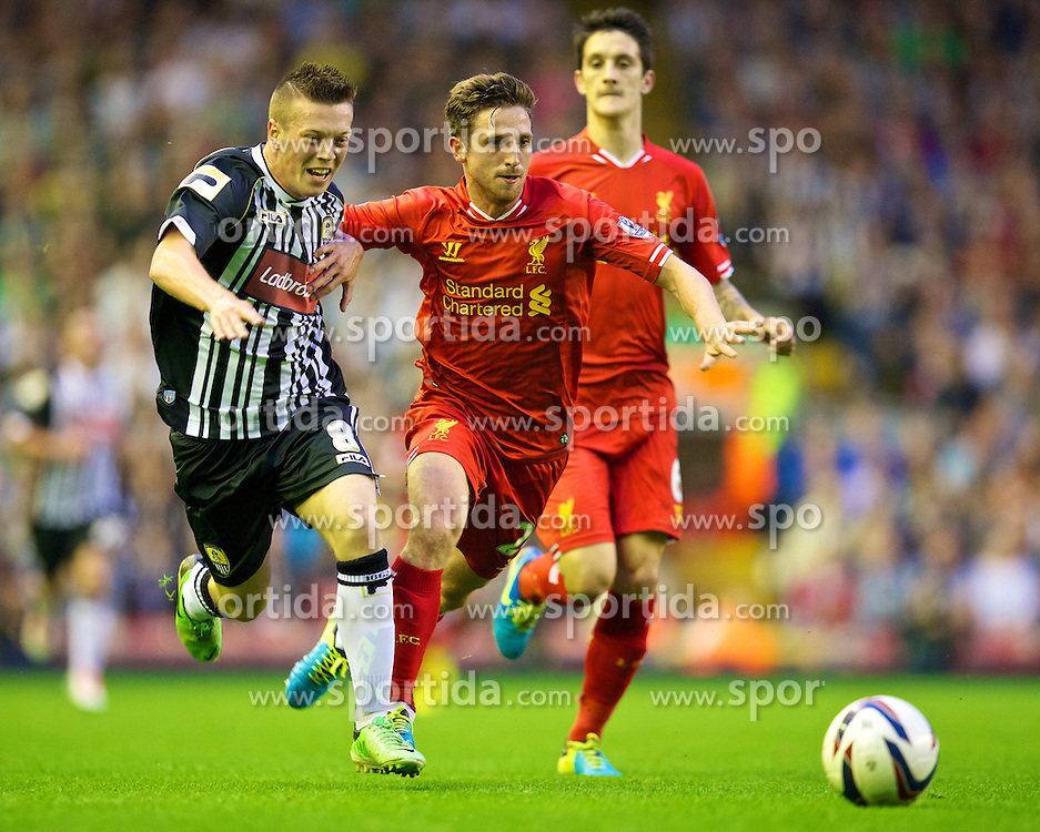 27.08.2013, Anfield, Liverpool, ENG, League Cup, FC Liverpool vs Notts County FC, 2. Runde, im Bild Liverpool's Joe Allen and Notts County's Callum McGregor in action against Notts County during the English League Cup 2nd round match between Liverpool FC and Notts County FC, at Anfield, Liverpool, Great Britain on 2013/08/27. EXPA Pictures &copy; 2013, PhotoCredit: EXPA/ Propagandaphoto/ David Rawcliffe<br /> <br /> ***** ATTENTION - OUT OF ENG, GBR, UK *****