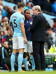 John Stones and Raheem Sterling console a dejected Crystal Palace manager Roy Hodgson at full time - Mandatory by-line: Matt McNulty/JMP - 23/09/2017 - FOOTBALL - Etihad Stadium - Manchester, England - Manchester City v Crystal Palace - Premier League