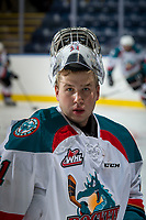 KELOWNA, CANADA - SEPTEMBER 2: Goalie Brodan Salmond #31 of the Kelowna Rockets stands at the boards during warm up against the Victoria Royals on September 2, 2017 at Prospera Place in Kelowna, British Columbia, Canada.  (Photo by Marissa Baecker/Shoot the Breeze)  *** Local Caption ***
