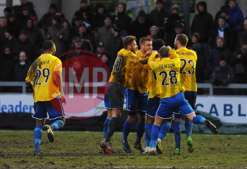 Bristol Rovers celebrate the second goal from Ellis Harrison - Photo mandatory by-line: Neil Brookman/JMP - Mobile: 07966 386802 - 31/01/2015 - SPORT - Football - Dartford - Princes Park - Dartford v Bristol Rovers - Vanarama Football Conference