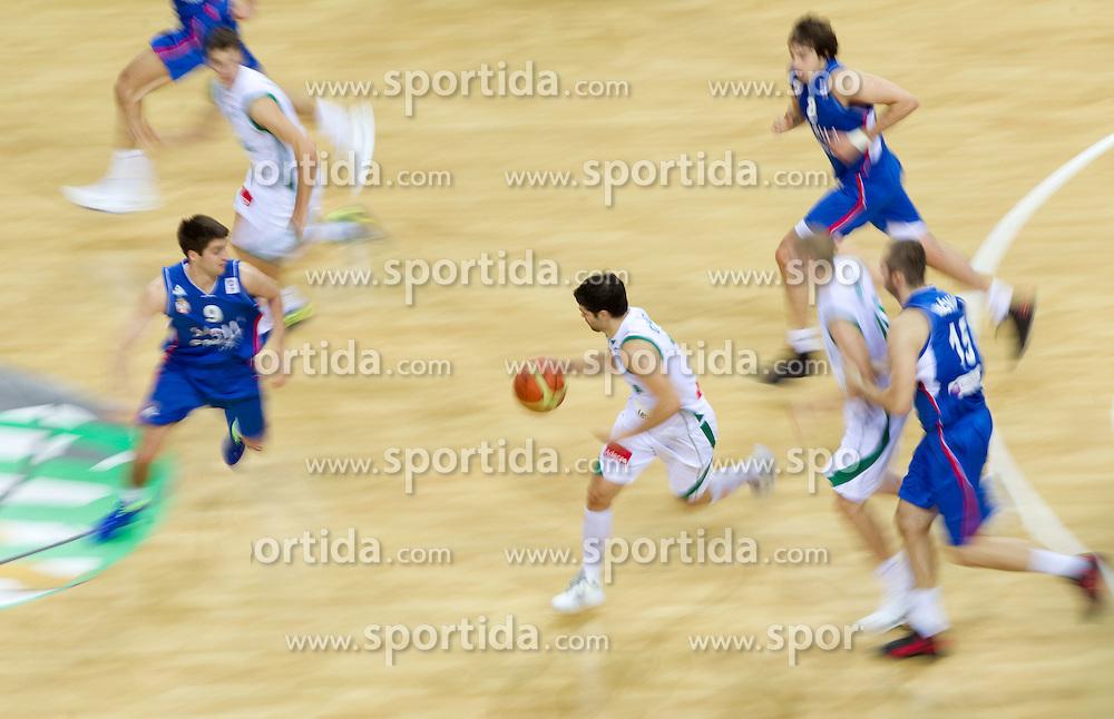 Saso Ozbolt of Slovenia during basketball game between National basketball teams of Slovenia and Serbia in 7th place game of FIBA Europe Eurobasket Lithuania 2011, on September 17, 2011, in Arena Zalgirio, Kaunas, Lithuania. Slovenia defeated Serbia 72 - 68 and placed 7th. (Photo by Vid Ponikvar / Sportida)