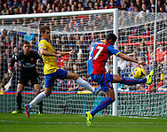 Picture by David Horn/Focus Images Ltd +44 7545 970036<br /> 26/10/2013<br /> Damien Delaney of Crystal Palace on a rare attack pursued by Laurent Koscielny of Arsenal during the Barclays Premier League match at Selhurst Park, London.