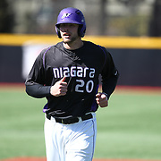 Jordan Schwartz #20 of the Niagara Purple Eagles on the field during the game at Friedman Diamond on March 16, 2014 in Brookline, Massachusetts. (Photo by Elan Kawesch)