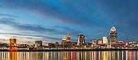 Panoramic photograph of Cincinnati Skyline at Nighttime