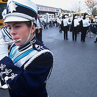 USA, Maryland, Marching band waits for start of rainy parade at Garrett County Autumn Glory Festival in Oakland