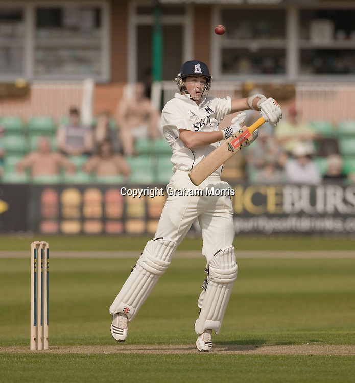 Chris Woakes topscores with 47 (unconventional) runs during the County Championship match between Worcestershire and Warwickshire at New Road, Worcester. Photo: Graham Morris (Tel: +44(0)20 8969 4192 Email: sales@cricketpix.com) 20/04/11