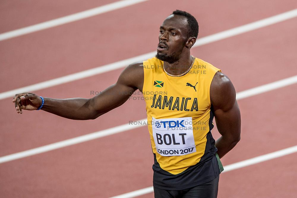 04-08-2017 IAAF World Championships Athletics day 1, London<br /> Usain Bolt JAIM100 m