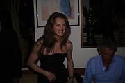 Brooke Shields. Dinner at San Lorenzo, Beauchamp Place after Tod's hosts Book signing with Dante Ferretti celebrating the launch of 'Ferretti,- The art of production design' by Dante Ferretti. 19 April 2005.  ONE TIME USE ONLY - DO NOT ARCHIVE  © Copyright Photograph by Dafydd Jones 66 Stockwell Park Rd. London SW9 0DA Tel 020 7733 0108 www.dafjones.com
