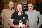 Darcie Holme, Monifieth Ladies under 15s most supportive player pictured with Dundee United's Lewis Toshney and Simon Murray at Monifieth Ladies presentation evening at the Panmure Hotel, Monifieth - Photo: David Young, <br /> <br />  - &copy; David Young - www.davidyoungphoto.co.uk - email: davidyoungphoto@gmail.com