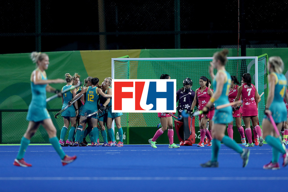 RIO DE JANEIRO, BRAZIL - AUGUST 13: Australia celebrate their first goal  in the Women's Pool B match between Australia and Japan on Day 8 of the Rio 2016 Olympic Games at the Olympic Hockey Centre on August 13, 2016 in Rio de Janeiro, Brazil.  (Photo by Phil Walter/Getty Images)