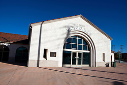 Exterior view of train station at Old Town Victorville, California, United States of America