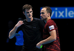 Great Britain's Jamie Murray and Brazil's Bruno Soares during day five of the Barclays ATP World Tour Finals at The O2, London.