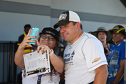 September 14, 2018 - Las Vegas, NV, U.S. - LAS VEGAS, NV - SEPTEMBER 14: NASCAR driver Ryan Newman (31) Richard Childress Racing (RCR) Chevrolet Camaro ZL1 poses to take a selfie with a fan during practice for the South Point 400 Monster Energy NASCAR Cup Series Playoff Race on September 14, 2018 at Las Vegas Motor Speedway in Las Vegas, NV. (Photo by Chris Williams/Icon Sportswire) (Credit Image: © Chris Williams/Icon SMI via ZUMA Press)