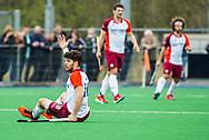 ALMERE - Hockey - Hoofdklasse competitie heren. ALMERE-HGC (0-1) . Manuel Verga (Almere) protesteert.   COPYRIGHT KOEN SUYK