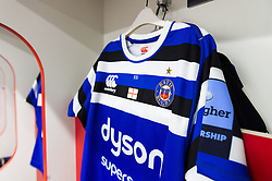 A general view of a Bath Rugby jersey hung up in the away changing rooms prior to the match - Mandatory byline: Patrick Khachfe/JMP - 07966 386802 - 04/01/2020 - RUGBY UNION - Kingsholm Stadium - Gloucester, England - Gloucester Rugby v Bath Rugby - Gallagher Premiership