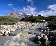Alaska. Arctic National Wildlife Refuge. Camp on Esetuk Creek, at Hulahula River. Milky water due to meltoff from Esetuk Glacier.