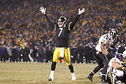 Ben Roethlisberger (7) of the Pittsburgh Steelers celebrates the game-winning touchdown run by Rashard Mendenhall against the Baltimore Ravens in the AFC Divisional Playoff game on Jan. 15, 2011 at Heinz Field in Pittsburgh, Pennsylvania. The Steelers won 31-24. (Photo by Joe Robbins)