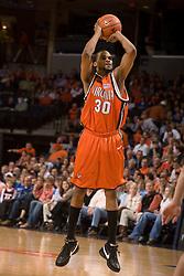 Virginia forward Adrian Joseph (30) shoots against Duke.  The Virginia Cavaliers men's basketball team fell to the #6 Duke Blue Devils 86-70 at the University of Virginia's John Paul Jones Arena in Charlottesville, VA on March 5, 2008.