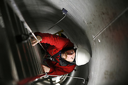 UK ENGLAND GREENFIELD 21MAR12 - Ladder ascent inside the wind turbine at the Capital Safety training facility in Greenfield, Greater Manchester...jre/Photo by Jiri Rezac..© Jiri Rezac 2012