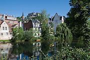 Schloss und Untertstadt an der Lahn, Marburg, Hessen, Deutschland | castle, old town, river Lahn, Marburg, Hesse, Germany