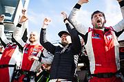 January 25-26, 2020. IMSA Weathertech Series. Rolex Daytona 24hr. Paul Miller Racing Lamborghini Huracan GT3 mechanics and Corey Lewis celebrate winning the 58th Rolex 24h.