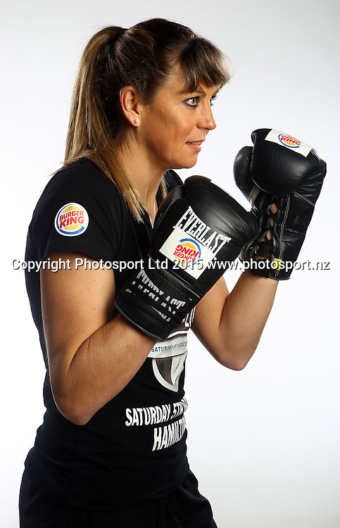 Irene van Dyk during a photoshoot ahead of her charity boxing bout in the Burger King Fight for Life event at Claudelands Arena in December. Photosport studios, Auckland. 9 September 2015. Copyright Photo: William Booth / www.photosport.nz
