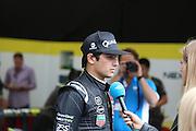 Nelson Piquet Jr getting interviewd before the race during the FIA Formula E Visa London ePrix  at Battersea Park, London, United Kingdom on 28 June 2015. Photo by Matthew Redman.
