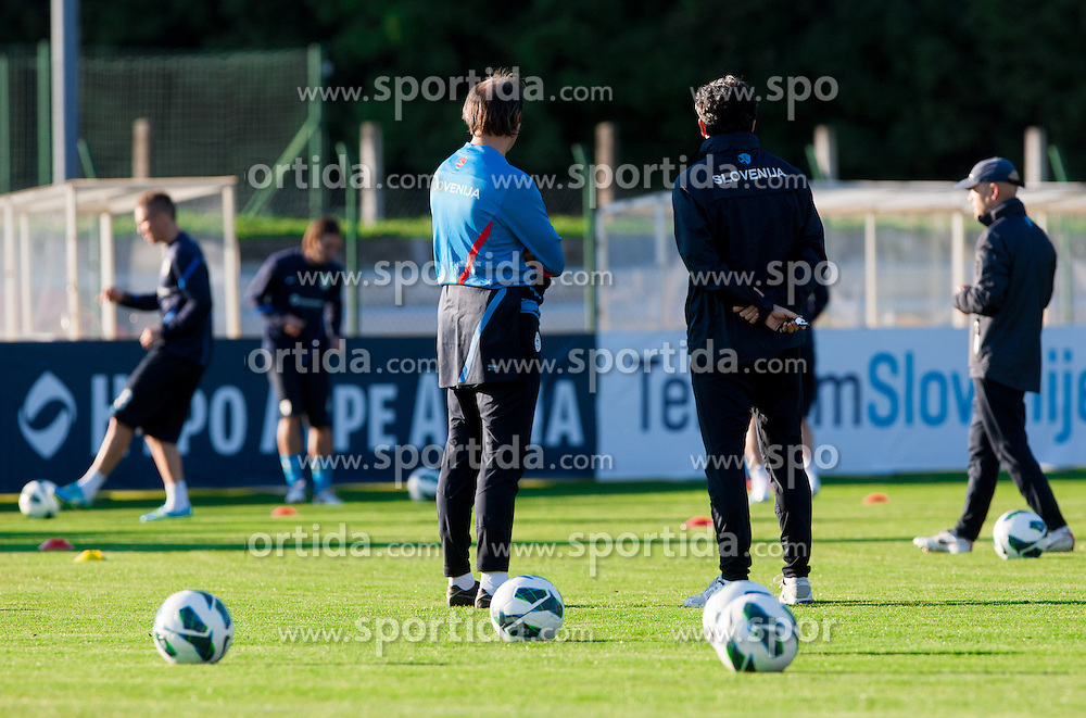 Nihad Pejkovic and Slavisa Stojanovic, head coach  of Slovenian National football team during training camp for World Cup Brasil 2014 Qualifications on October 8, 2012 in Kidricevo at Ptuj, Slovenia. (Photo By Vid Ponikvar / Sportida)