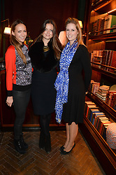 Left to right, LAVINIA BRENNAN, LADY NATASHA RUFUS-ISAACS and RACHEL PERRY at the launch of Rosewood London - a new luxury hotel at 252 High Holborn, London WC1 on 30th October 2013.