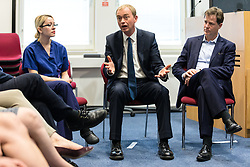 © Licensed to London News Pictures. 01/06/2017. London, UK. Leader of the Liberal Democrats TIM FARRON (centre) and former leader Nick Clegg (R) speak with staff at Kingston Hospital. Photo credit: Rob Pinney/LNP