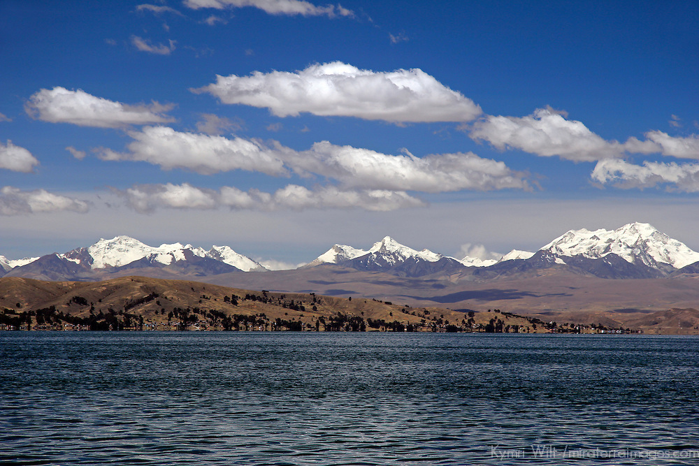 South America, Bolivia, Lake Titicaca. Scenic mountains of Lake Titicaca.