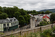 MERTHYR TYDFIL, Wales - 04 JUNE 2020 - The top of Merthyr Tydfil high street looking down from the entrance from Merthyr Town football club.