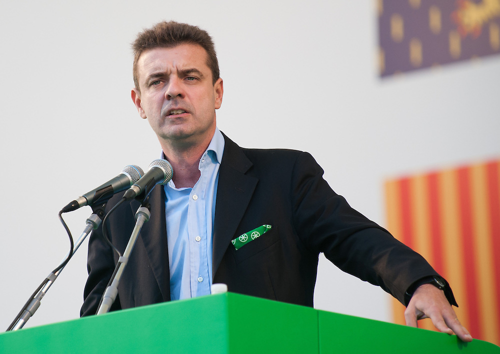 """Roberto Cota  at the Lega Nord rally today in Venice under the slogan """"Prima Il Nord""""  (North First)  the Lega Nord with its new Secretary Roberto Maroni are trying to go back to their  1996 meeting in Venice with its original federalist credo"""