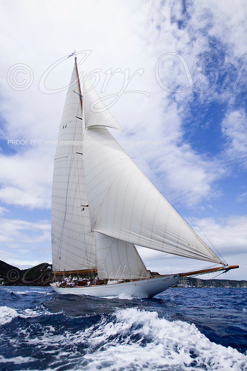 Cambria sailing in the Old Road Race, the first race of the Antigua Classic Yacht Regatta.
