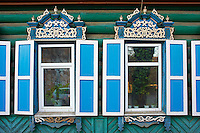 Russie, Siberie, Fédération de Irkoutsk, Irkoutsk,  architecture de bois du XIXè siècle // Russia, Siberia, Irkutsk, wooden architecture