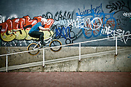 BMX Cycling, Men, Stunt, Ramp, Motion, Graffiti,
