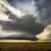 Rotating supercell thunderstorm in western Kansas.