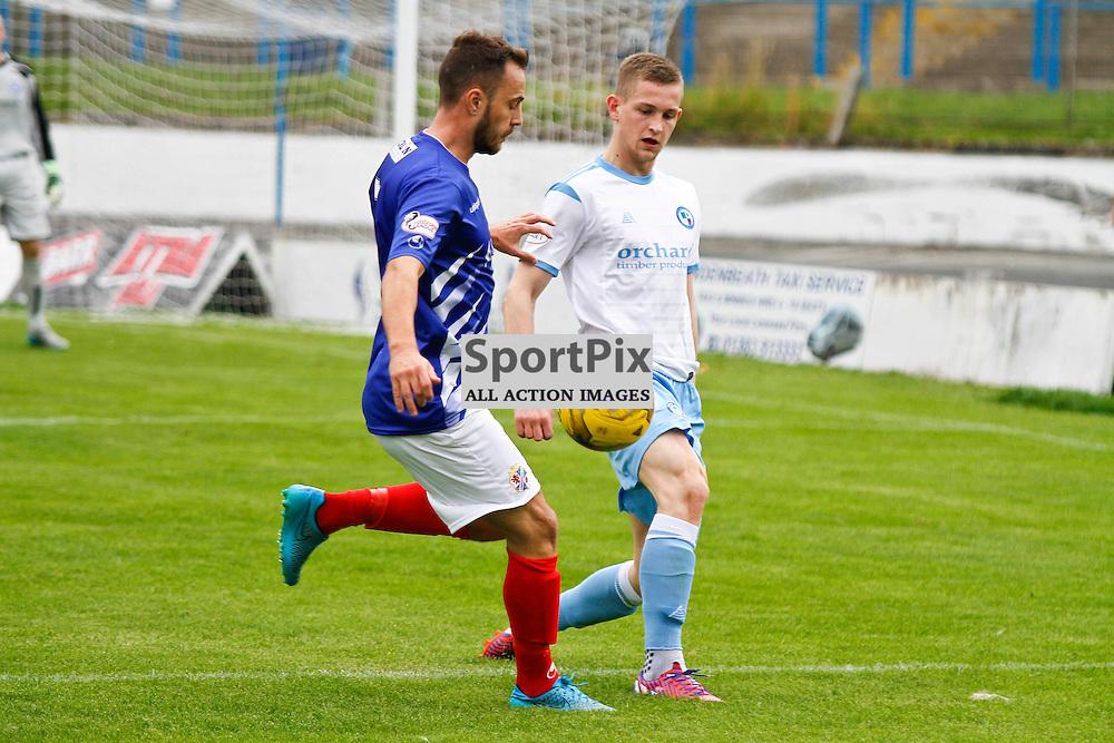 Cowdenbeath FC V Forfar Athletic, Scottish League 1, 19th September 2015<br /> <br /> Cowdenbeath FC V Forfar Athletic, Scottish League 1, 19th September 2015<br /> <br /> COWDENBEATH #7 GORDON SMITH WITH FORFAR #5 THOMAS O'BRIEN