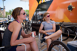 Chantal Blaak relaxes in the shade before Stage 5 of the Giro Rosa - a 12.7 km individual time trial, starting and finishing in Sant'Elpido A Mare on July 4, 2017, in Fermo, Italy. (Photo by Sean Robinson/Velofocus.com)