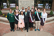 Ohio University President, Roderick McDavis, and Ohio University First Lady, Deborah McDavis, pose with Ohio University's Homecoming Court at the College Gateway on October 8, 2016.