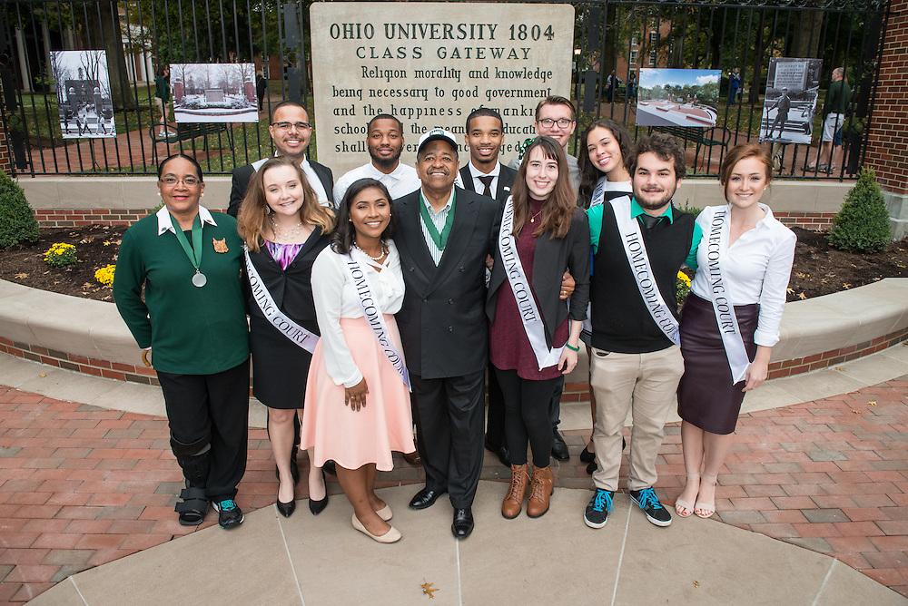 Ohio University President, Roderick McDavis, and Ohio University First Lady, Deborah McDavis, pose with Ohio University's Homecoming Court at the College Gateway on October 8, 2016.