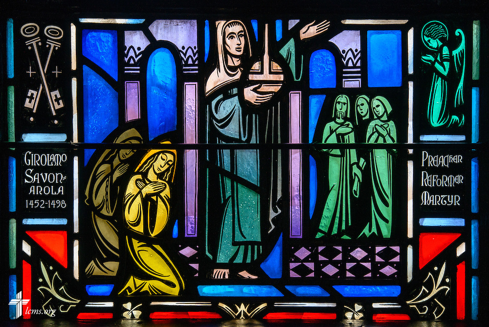 Stained glass at Luther Memorial Chapel depicts Girolamo Savonarola, 1452-1498, on Friday, Jan. 29, 2016, in Shorewood, Wis. LCMS Communications/Erik M. Lunsford
