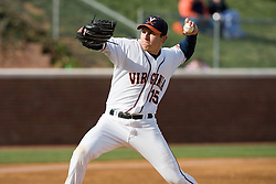 Virginia Cavaliers pitcher/firstbaseman Matt Packer (15) pitches against Duke.  Packer took the loss and pitched 3 2/3 innings and gave up six runs (two earned).  The Virginia Cavaliers Baseball team fell to the Duke Blue Devils 13-9 in the second of a three game series at Davenport Field in Charlottesville, VA on April 7, 2007.